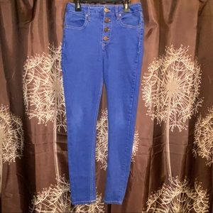 HIGH WAISTED Button Front Blue Denim Jeans Size 9